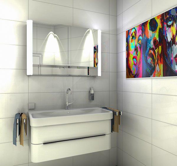 Badezimmer Entwurf mit Kunstbild