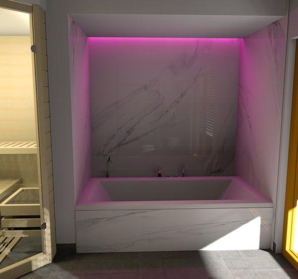 Beleuchtete gemütliche Badewanne
