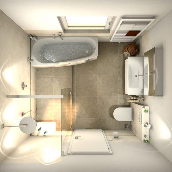 Kleines Badezimmer aus der Vogelperspektive