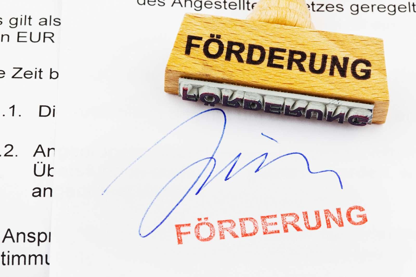 Ein Stempel aus Holz, der auf einem Dokument liegt. deutsche Aufschrift: FÖRDERUNG