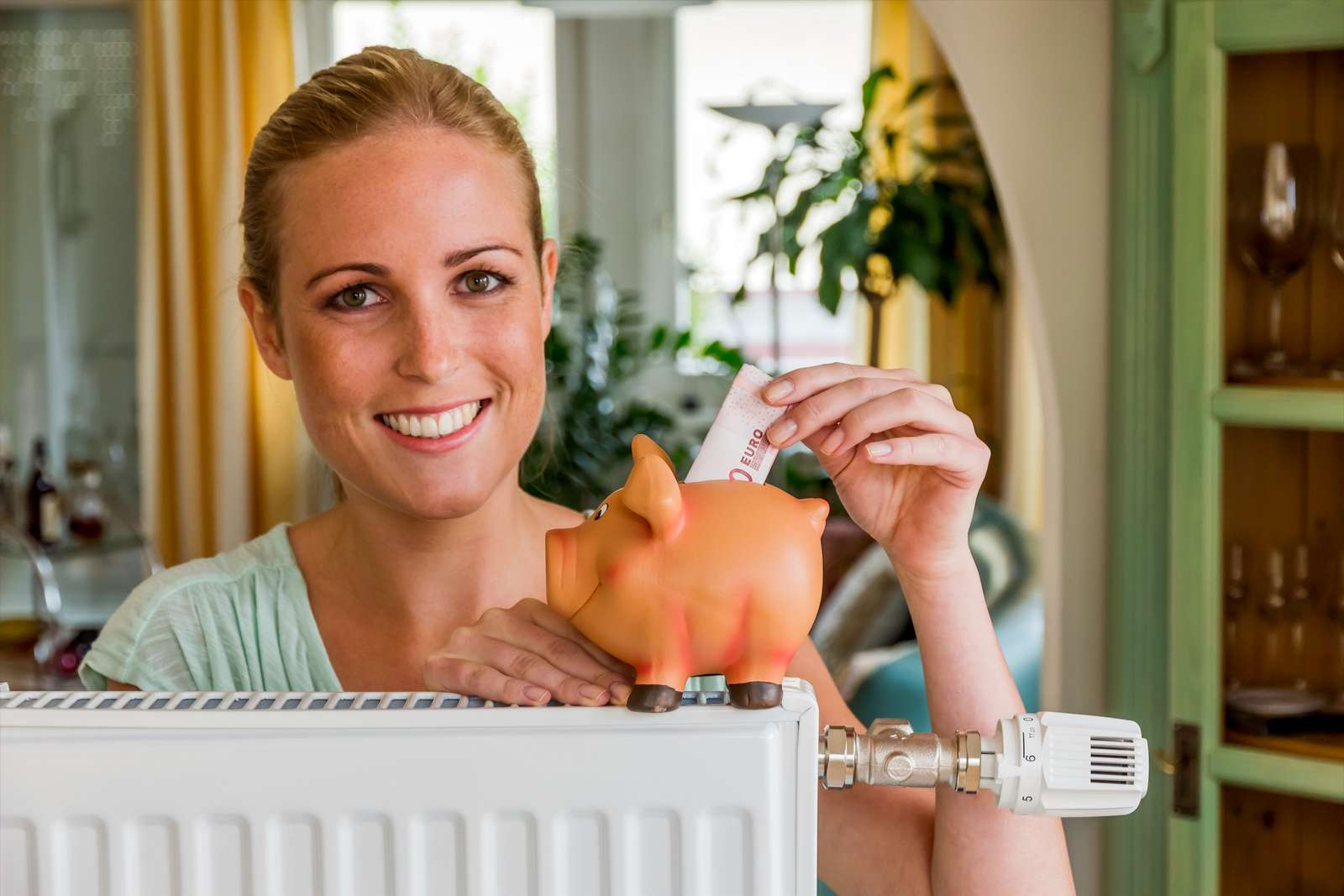 a young woman with a radiator and a piggy bank. photo icon for saving energy and heating