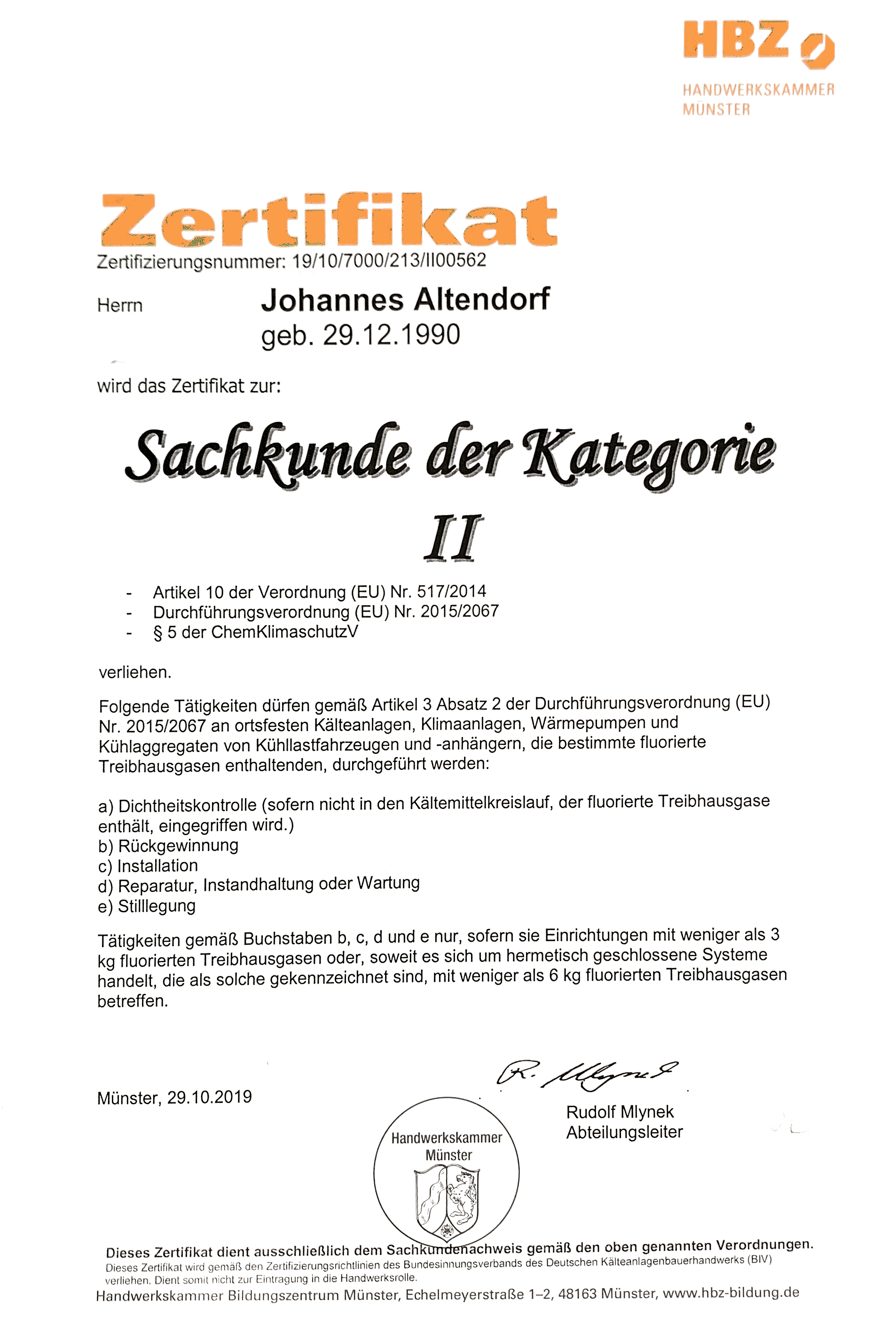 Scan Zertifikat